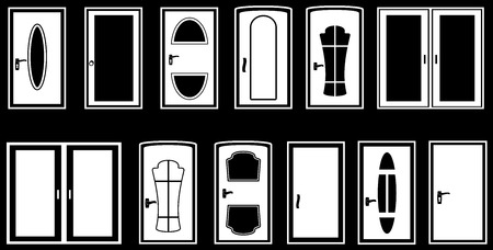 set isolated doors silhouette on black background Vector