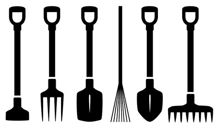 set six isolated garden tools on white background