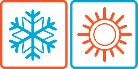 isolated snowflake and sun icons on frame Vector
