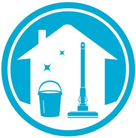dienstverlening: blauwe huis schoon icoon met emmer en dweil