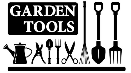 set black isolated gardening tools for landscaping design Ilustracja
