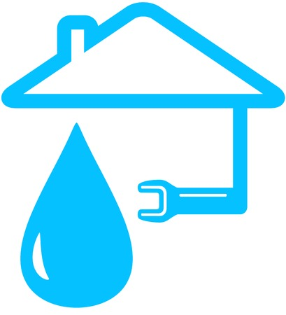 leakage: isolated blue icon with wrench, home and drop silhouette Illustration