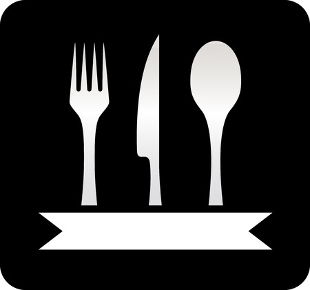 lunchroom: kitchen utensil black icon  spoon, fork and knife on black background Illustration