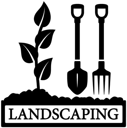 black landscaping icon with sprout and gardening tools silhouette