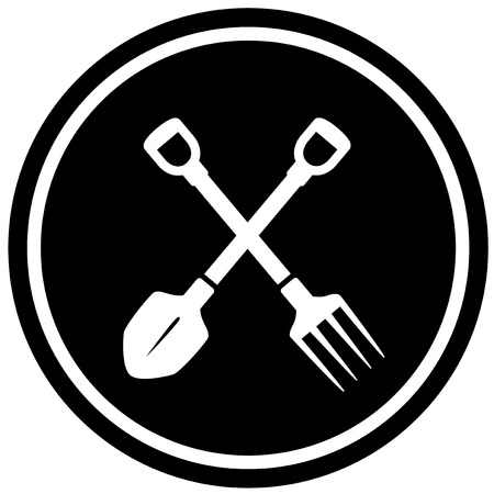 landscaping: isolated black pitchfork and shovel gardening icon