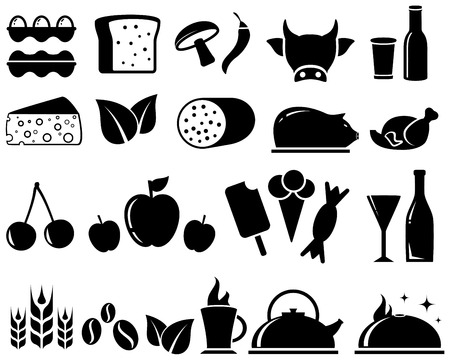 isolated set with black food objects on white background Vector