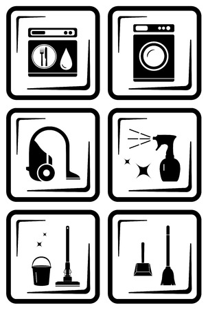vacuuming: set six icon for housewife home work tools silhouette