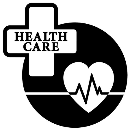 black isolated health care medical icon with heartbeat Vector