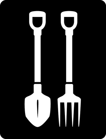 sward: isolated pitchfork and bayonet spade black garden icon Illustration