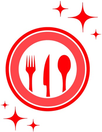 commercial kitchen: red isolated restaurant icon with kitchen ware