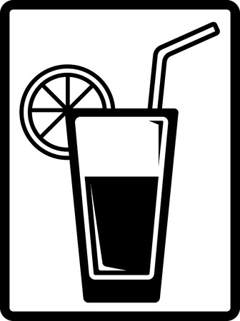 squeezer: isolated black beverage symbol - water glass with lemon Illustration