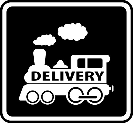 isolated white train on black icon - delivery symbol Vector