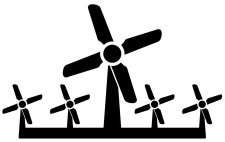 wind icon: isolated black wind mill icon - wind power symbol Illustration