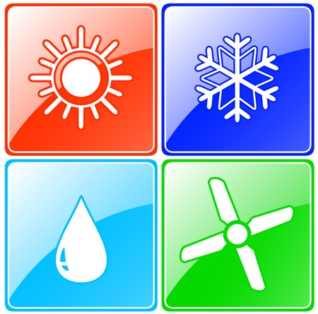 colorful button set for conditioning service with drop, sun, snowflake and fan Vector