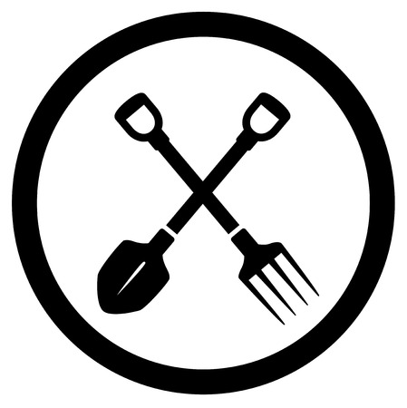 sward: round garden icon with tools - shovel and pitchfork