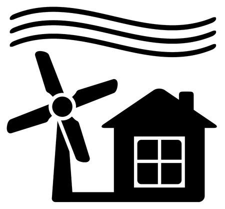 manipulated: black icon with windmill, alternative energy source for home