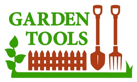 landscape gardener: color landscaping icon with garden tools, grass and palisade Illustration