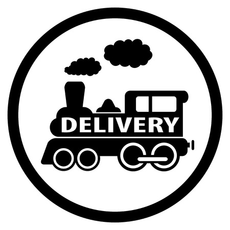 black isolated moving train round icon - delivery symbol Vector