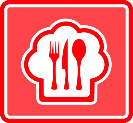 lunchroom: cook hat restaurant icon on red background