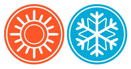 season specific: isolated icon with snowflake and sun - season specific icon