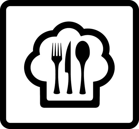 lunchroom: cook hat with kitchen ware - black isolated restaurant icon