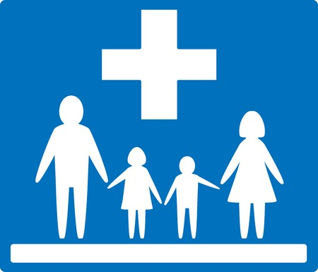 home keeping: blue medical background and white people - family medicine icon