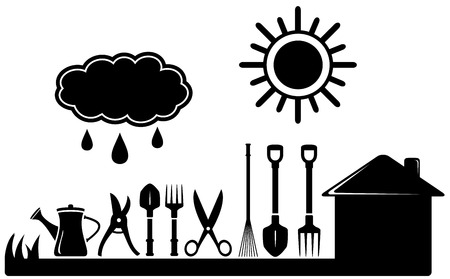 pruner: black isolated gardening tools set on farm landscaping