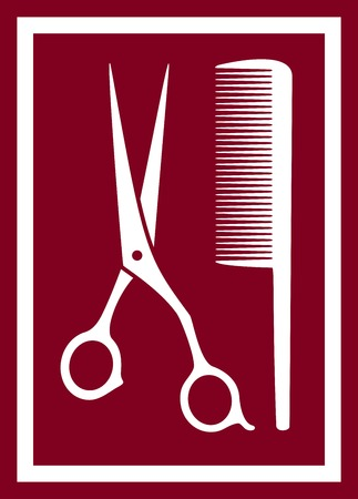 facia: icon with isolated barber scissors and comb on pink background Illustration