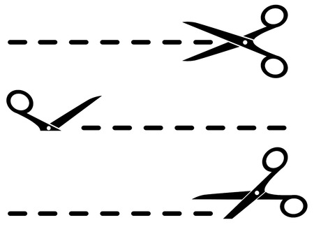 crossed out: isolated cut lines with black scissors set on white background Illustration