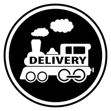 railway delivery symbol with train white silhouette Vector