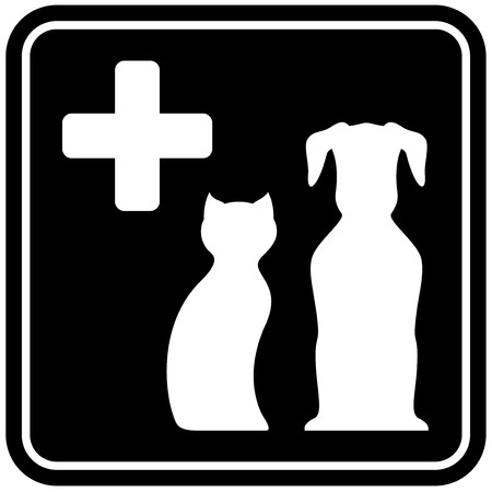 cat call: black veterinary care isolated icon with animal pet silhouette