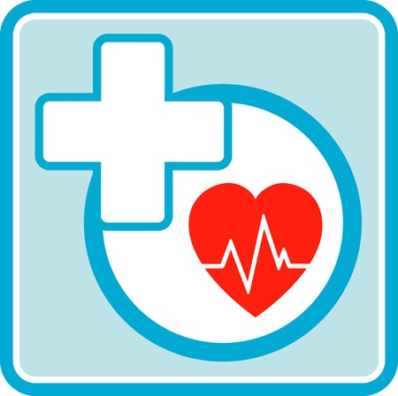 Icono médico del cuidado de la salud con la cruz y los latidos del corazón Foto de archivo - 31396313