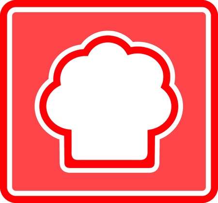 lunchroom: chef hat red icon - table napkin design for restaurant Illustration