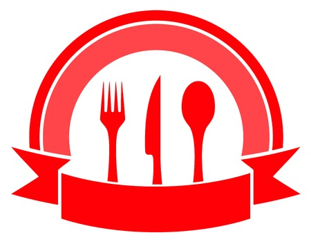 red food icon on white background with cuisine utensil Vector