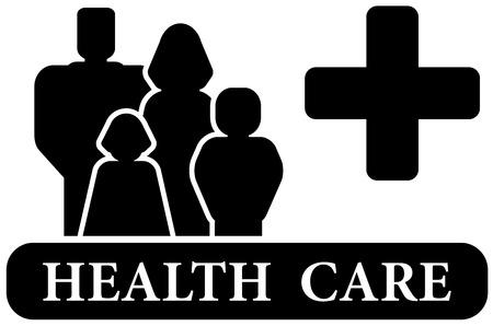 black family: medical sign - family health care black icon