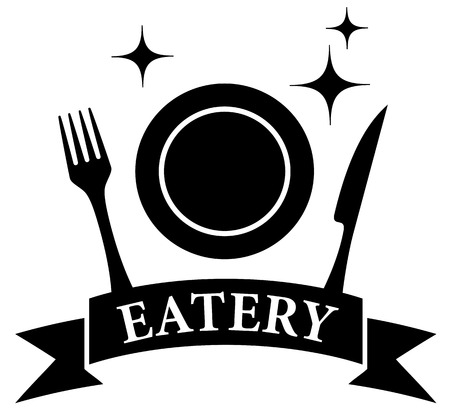 eatery: isolated icon with kitchen ware on black eatery symbol