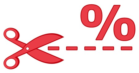 reduction: isolated icon - red scissors with percentage and dotted line silhouette
