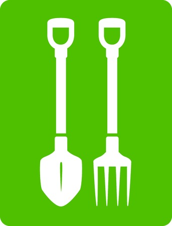 green shovel and pitchfork icon - tools for garden symbol