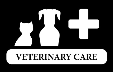 black veterinary care icon with animal silhouette