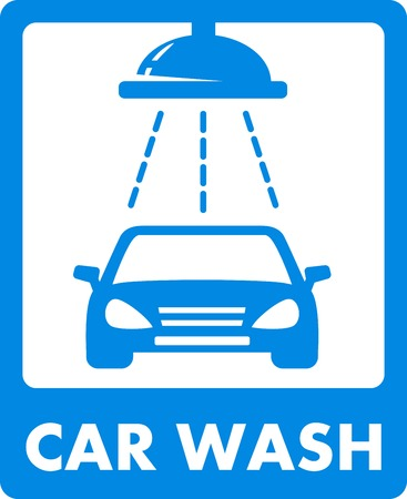 automatic doors: blue car wash icon with automatic shower washed Illustration