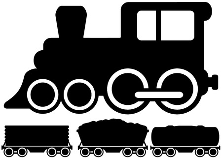 diesel train: black isolated locomotive train and set load car Illustration