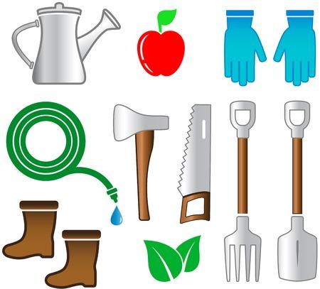 gardening hoses: isolated set tools for gardening on white background