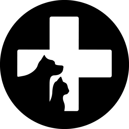 cat grooming: black round veterinary care icon with cross and pet Illustration