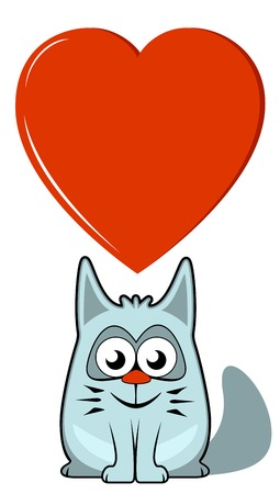 isolated cartoon cat with big red heart