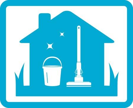 dienstverlening: geïsoleerde schoonmaken van het huis pictogram op blauwe kader