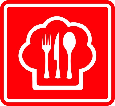 lunchroom: red restaurant icon with cook hat and utensil white silhouette Illustration