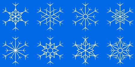 cooler: isolated white snowflake set on blue background