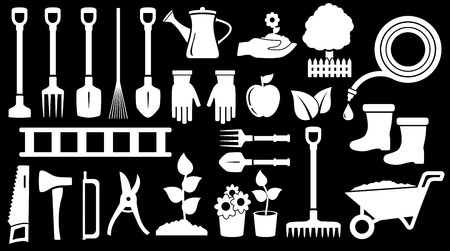landscaping: tools for gardening work on black background Illustration