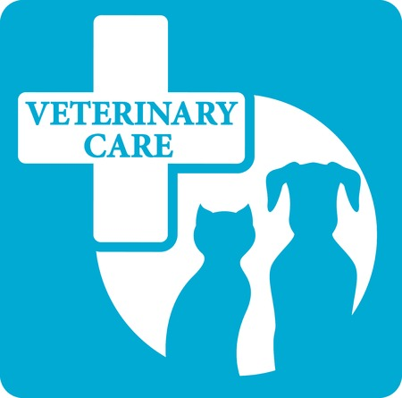 cat call: blue veterinariry care icon with pedigreed dog and cat silhouette