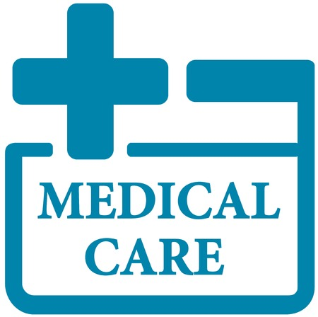 infirmary: blue medical care icon - first aid kit symbol